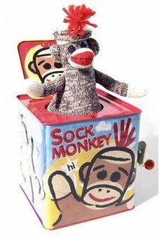 Sock Monkey Jack in the Box-Sock Monkeys