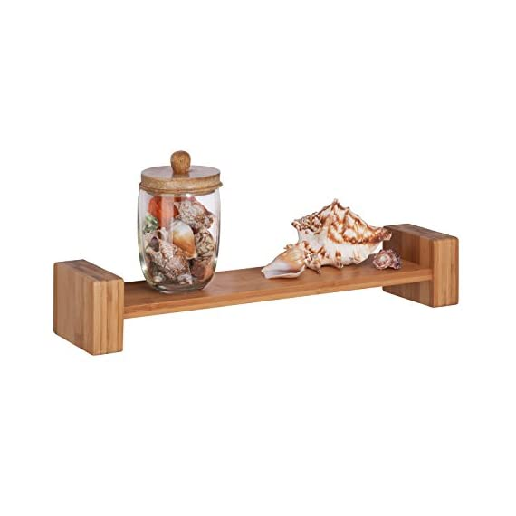 HoneyCanDo SHF-04396 Bamboo H Shape Wall Shelf - Adds decorative and functional touch to your wall Made of solid Bamboo construction Holds up to 15-poudns without failure - wall-shelves, living-room-furniture, living-room - 419Y9qr0t4L. SS570  -