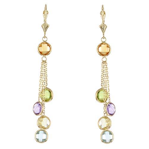 14k Yellow Gold Chandelier Earrings with Round Gemstone Stations (Earrings Topaz Lemon)