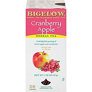 Bigelow Cranberry Apple Herbal Tea Bags 28-Count Box (Pack of 1) Cranberry Apple Hibiscus Flavored Herbal Tea Bags All Natural Non-GMO
