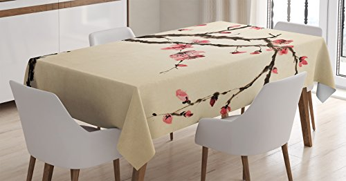 - Ambesonne Japanese Decor Tablecloth, Traditional Chinese Paint Style of Figural Tree with Highly Detail Brushstroke Effects, Rectangular Table Cover for Dining Room Kitchen, 60x90 Inches, Pink Brown