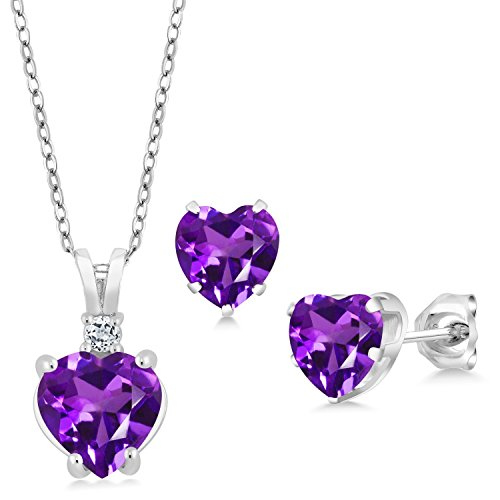 - 2.78 Ct Heart Shape Purple Amethyst 925 Sterling Silver Pendant Earrings Set