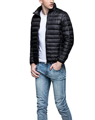 Down Men's Short Jacket Black Stand Jacket Lightweight Outwear Suncaya Packable Down Collar Warm qZIgdww