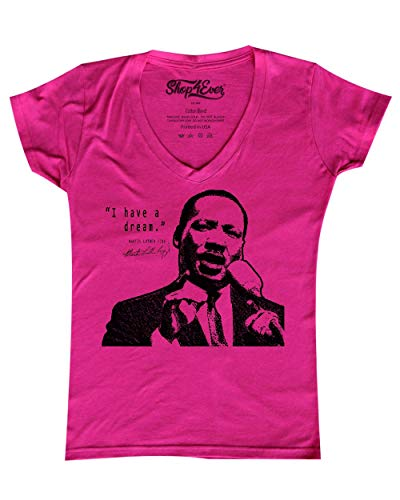 shop4ever I Have A Dream Women's V-Neck T-Shirt Martin Luther King Jr. Shirts X-Large Pink 0