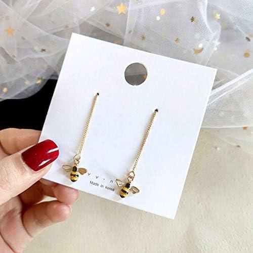3D Cute Bee Charm Tassel Earrings 18K Gold Plated Long Ear Line Threader Honeybee Dangle Earring