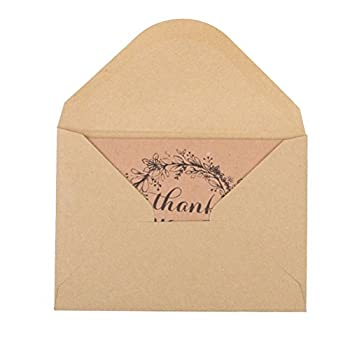 ROSENICE Thank You Cards 50pcs Vintage Brown Recycled Wedding Party Kraft Cards Envelops