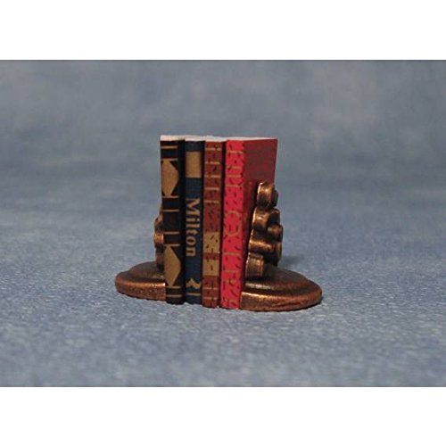 Miniature Set Of 4 Books Complete with Bookends For Dolls House/Fairy House 1/12th Scale (Bookends Bookends House)