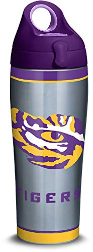 Tervis 1309970 LSU Tigers Tradition Stainless Steel Insulated Tumbler with Purple Lid, 24oz Water Bottle, Silver