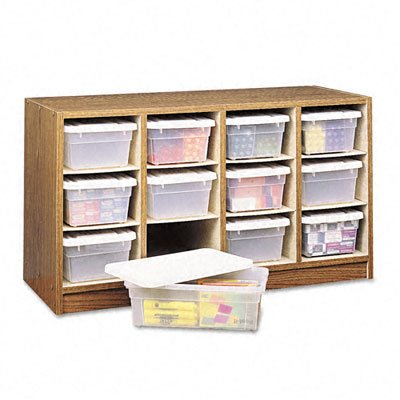 Safco Products Supplies Organizer, 12 Compartment, 9452MO, Medium Oak, Transparent Bins with Labels, Laminate (Safco Labels)