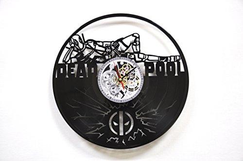 Deadpool Clock Wall Vinyl Marvel Deadpool Men Women Boys Birthday Set Deadpool Decor Home LP Vinyl Clock Art Movie Wall Clock - Deadpool Gift Idea - Deadpool Wall Decor - Deadpool Vinyl Clock Black 4