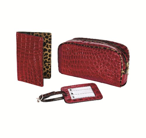 Travel Smart by Conair Crocodile 3-Piece Travel Gift Set- bag, passport cover and luggage tag (Passport Holder Crocodile)