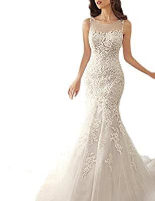 SeasonMall Women's Wedding Dresses Scoop Mermaid Court Train With Applique