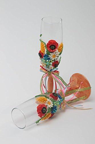 Vasos de cristal pintados hechos a mano detalles de boda regalo original: Amazon.es: Hogar
