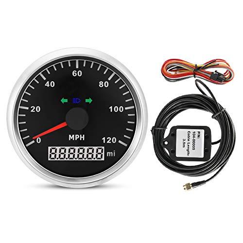 Aramox GPS Speedometer, 85mm 200MPH Motorcycle GPS Speedometer, Odometer Mileage Adjustable Overspeed Alarm Meter Gauge:
