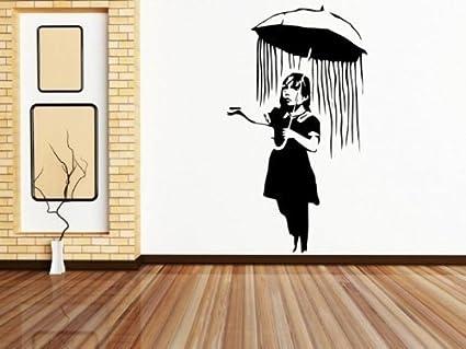 Banksy niña con paraguas de pared adhesivo, negro, Large: 60cm x 100cm /