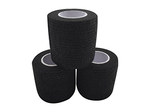 Grip Tape - Hockey, baseball, lacrosse, any other sports requiring a solid grip - 2 inch by 15 feet (Black)(3 Pack) - Black Hockey Tape