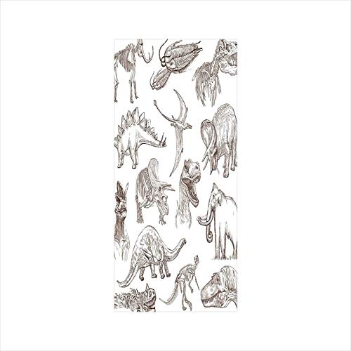 Decorative Window Film,No Glue Frosted Privacy Film,Stained Glass Door Film,Collection of Various Dinosaurs Illustrations Gigantic Skeleton Biology Historic,for Home & Office,23.6In. by 35.4In Gold Wh