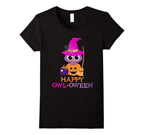 Womens Halloween Owl Shirt Pumpkin Witch Trick or Treat Novelty Small (Halloween Pumpkin Ideas Owl)