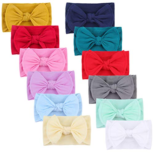 - Qandsweet Baby Girl's Beautiful Headbands and Bows Soft Nylon Head Wraps for Photograph (Value Sets of 12)