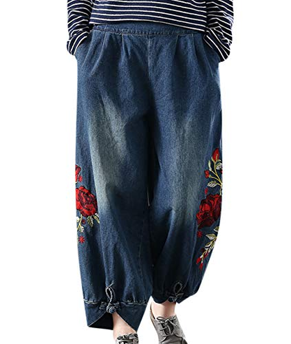 YESNO PGQ Women Casual Loose Fit Denim Pants Wide Leg Jeans Floral Embroidery Chinese Frog Cuff/Pockets