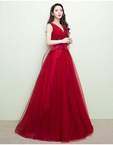 Red Beauty Bridesmaid Bowknot Evening Simple Long Tulle Dresses Emily Sleeveless rwqZPrza