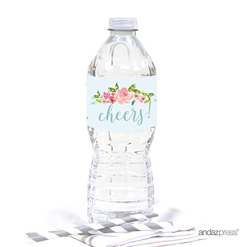 Andaz Press Pink Roses English Tea Party Tea Party Wedding Collection, Water Bottle Labels, 20-Pack]()