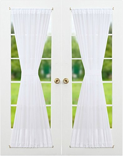 RHF Voile French Door Curtains-Set of 2 Panels, 40W by 72L Inches, Sheer White -