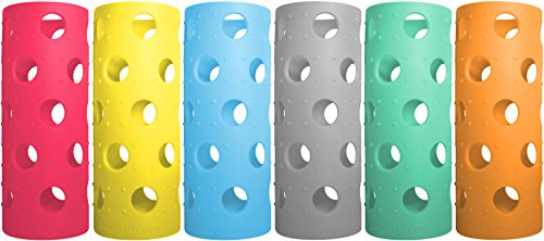 Brieftons Silicone Sleeves: 6-Pack Insulated Anti-Slip Protection Covers, Ultra Thick & Durable, Better than Neoprene & Rubber, Perfect for, Aquasana, Pratico Kitchen, Epica & Similar Glass Bottles
