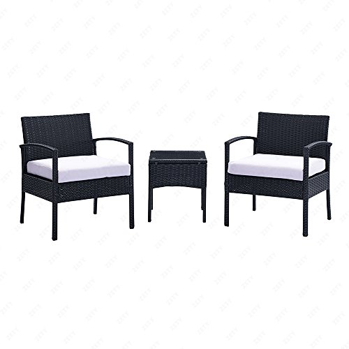 U.Rattan 3PC Rattan Wicker Furniture Table & Chair Set Cushioned Patio Outdoor Garden