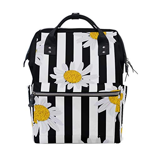 Daisy Diaper - Stripe Daisy Flower Diaper Bag Backpack for Mom Large Unisex Nappy Bags Baby Care Travel Backpack Outdoor School Laptop Bag