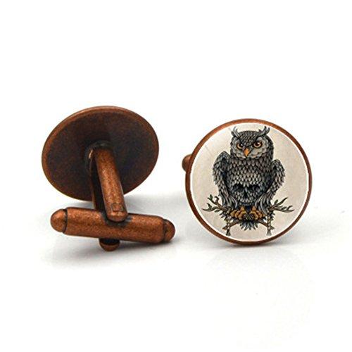 Da.Wa Owl Time Gem Metal Cufflinks Mens Cuff link Round Shape Cufflinks Gift for Men/Father's Day/Lover/Friends/Wedding/Anniversaries/Birthdays by Da.Wa (Image #5)