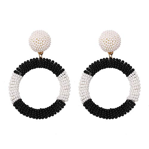 Glass Seed Bead Earrings - BEST LADY Statement Beaded Hoop Earrings - Fashion Bohemian Handmade Whimsical Drop Earrings for Women Jewelry, Idear Gifts for Mom, Sisters and Friends (Black White)