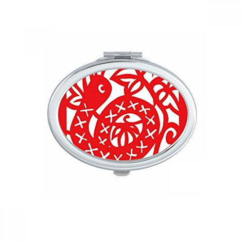 DIYthinker Paper-cut Snake Animal China Zodiac Oval Compact Makeup Mirror Portable Cute Hand Pocket Mirrors Gift by DIYthinker