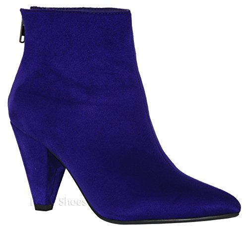 MVE Shoes Women's Stylish Ankle Bootie - Low Heel Pointed Toe Back Zipper Pur*t