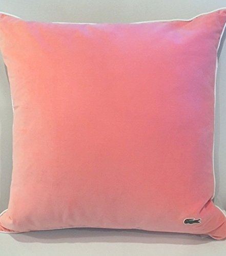 Lacoste Velvet/Brushed Twill 18x18 Throw Pillow, Burnt Coral