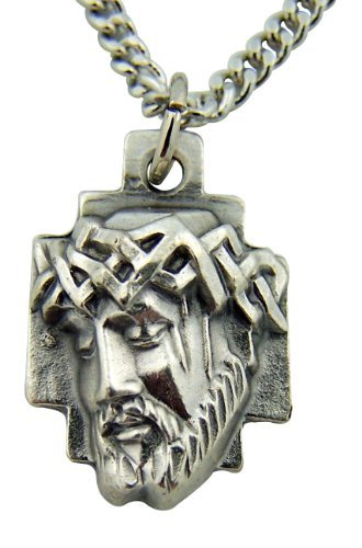 Silver Toned Base Crown of Thorns Head of Jesus Christ Cross Medal, 1 ()