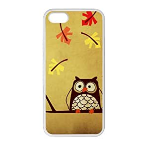 Fallen Leaves And Owl White Stylish Cover Case For Iphone 5 and 5S with high-quality Plastic