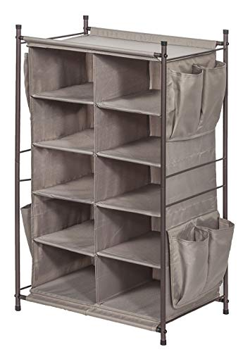 - STORAGE MANIAC 5-Tier 10-Compartment Cubby Shoe Rack Organizer with 8 Side Pockets, Free Standing Storage Rack with Top Space