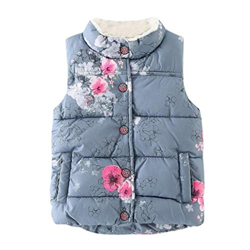 (Baby Winter Waistcoat for 2-6 Years Old,Fashion Toddler Girls Kids Floral Print Tops Jackets Warm Vest Clothes (5-6 Years Old, Gray))
