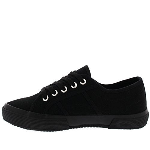 Work Shoes Black Flat Casual Womens Pumps Up Black Lace Sneakers Festival Fashion CPf0Zqw
