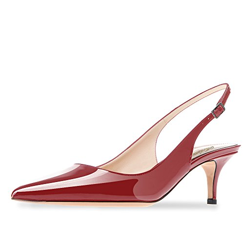 Modemoven Women's Wine Red Patent Leather Pointed Toe Slingback Ankle Strap Kitten Heels Pumps Evening Stiletto Shoes - 10 M US - Red Pointed Toe Slingback Shoes
