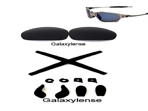 Galaxy Replacement Lenses + Rubber Kits For Oakley Juliet Sunglasses Black