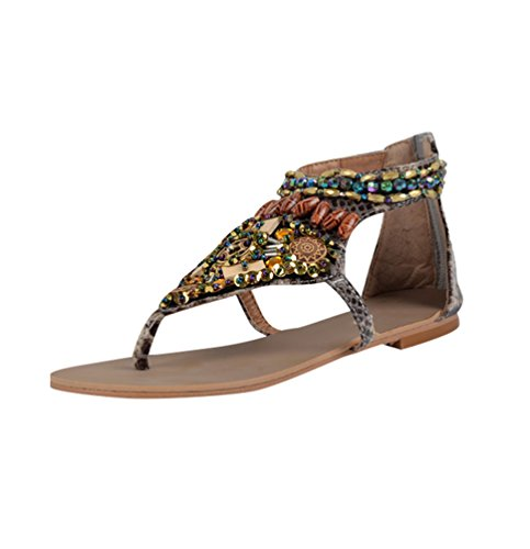 NiSeng Women Ethnic Style Sandals Bohemia Retro Beaded Sandals Summer Flat Sandals Beige P842LhJ
