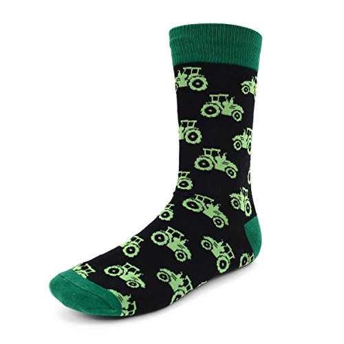 Select Harvest (Urban Peacock Men's Novelty Fun Crew Socks for Dress or Casual - Multiple Patterns to Select From (Farming Tractor - Black & Green, 6 Pair))