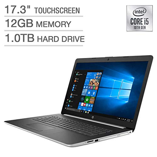 HP 17.3″ HD+ SVA BrightView WLED-Backlit Touchscreen Laptop, 10th Gen Intel Quad-Core i5-10210U up to 4.2GHz, 12GB DDR4, 1TB HDD, Backlit Keyboard, Wireless-AC, Bluetooth, Webcam, HDMI, Windows 10