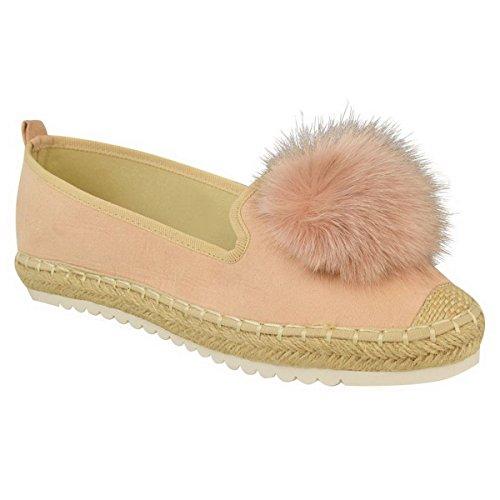 New Ladies Womens Espadrilles Pom Pom Slip On Suede Pumps Sneakers Shoes Size Pink Faux Suede 9E68suz
