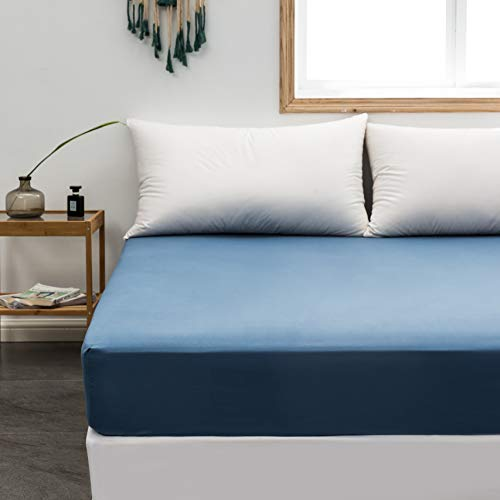 Fitted Sheet Queen Only Denim Deep Pocket Brushed Microfiber 1800 Durable and Fade Resistant Machine Washable Fits Mattress up to 16 inch