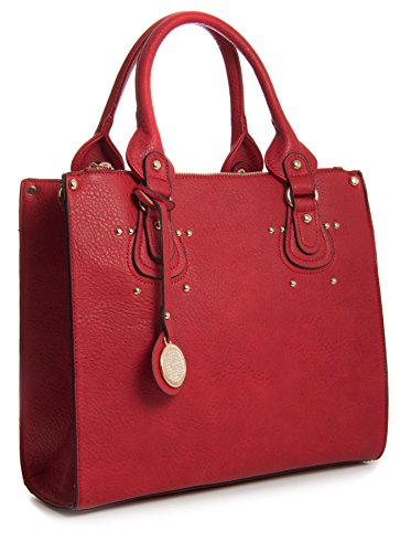 Ll381 Multi Handle Leather Trim Vegan Handbag Top Golden Pockets Satchel Red Large Handbag Womens Faux Shop Big wxq4SFgq