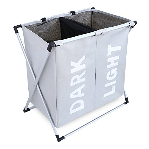Double Laundry Hamper with Aluminum X-Frame and 600D Oxford Bag (Light Gray)
