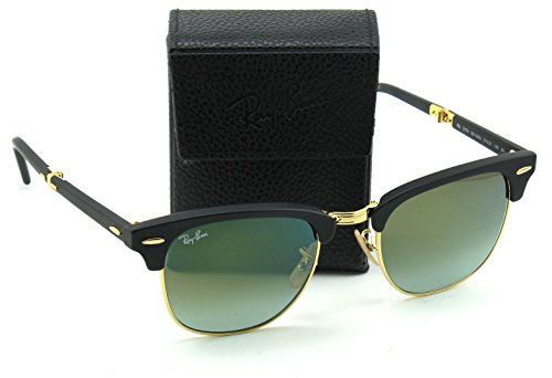 Ray-Ban RB2176 Folding Clubmaster Flash Gradient Unisex Sunglasses (Matte Black Frame/Green Mirror Gradient Lens 901S9J, - School Ray Old Ban
